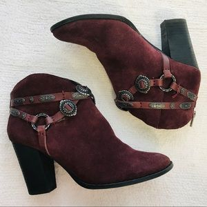 Leather Western Embellished Ankle Booties